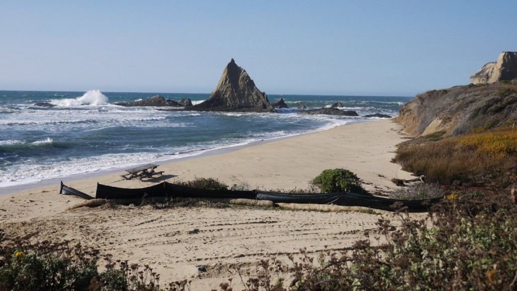 Pelican Rock marks the north end of Martins Beach on the San Mateo County coast. Amy Standen/KQED