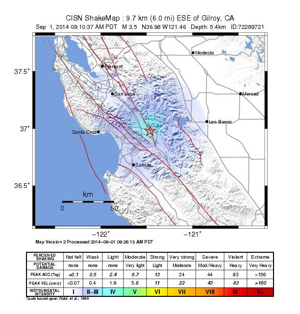 3.5 Earthquake Hits Gilroy