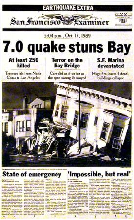 Front page of the San Francisco Examiner, Oct. 18,1989. Like just about everyone else, we grossly overstated the Loma Prieta death toll.