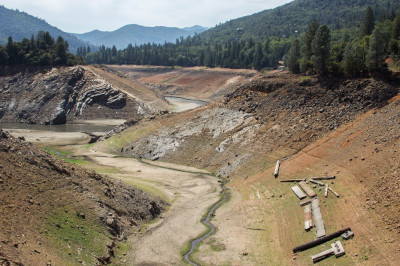 Shasta Lake, August 2014, from the Charley Creek Bridge. (Dan Brekke/KQED)