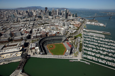 An aerial view of AT&T Park, with downtown San Francisco and Mount Tamalpais in the distance. (Ezra Shaw/Getty Images)