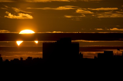A partial solar eclipse as viewed from New York City in November 2013.  (Stan Honda/Getty Images)