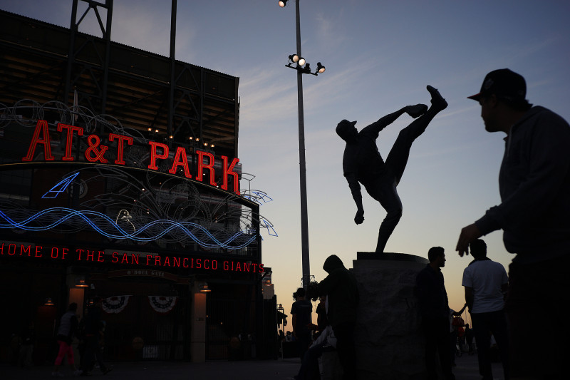 Fans make their way around AT&T Park during game five of the World Series. (James Tensuan/KQED)