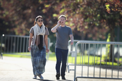 Priscilla Chan and Mark Zuckerberg at a conference in Sun Valley, Idaho, in July.  (Scott Olson/Getty Images)