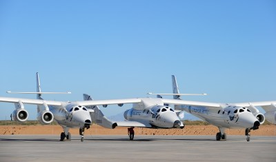 Virgin Galactic's SpaceShiptTwo, pictured at its planned future home in New Mexico. (Frederic J. Brown/Getty Images)