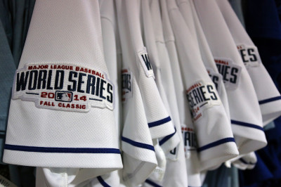 Kansas City Royals' World Series jerseys. (Ed Zurga/Getty Images)