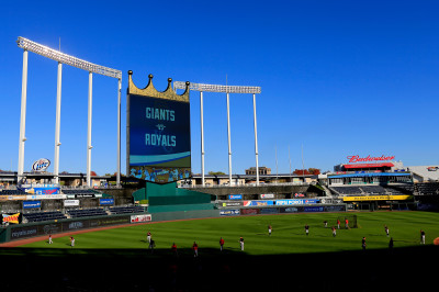 Members of the San Francisco Giants work out at Kansas City's Kauffman Stadium on Monday. (Rob Carr/Getty Images)
