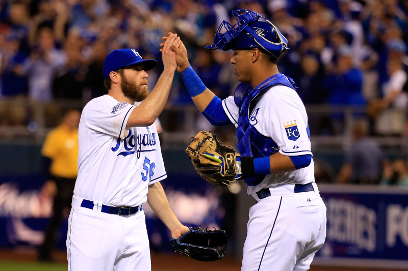 Greg Holland #56 celebrates with Salvador Perez #13 of the Kansas City Royals after defeating the San Francisco Giants 7-2 in Game Two of the 2014 World Series. (Jamie Squire/Getty Images)