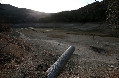 Almaden Reservoir in San Jose is owned by the Santa Clara Valley Water District, a large water supplier, and not one of the ones currently in trouble. (Justin Sullivan/Getty Images)
