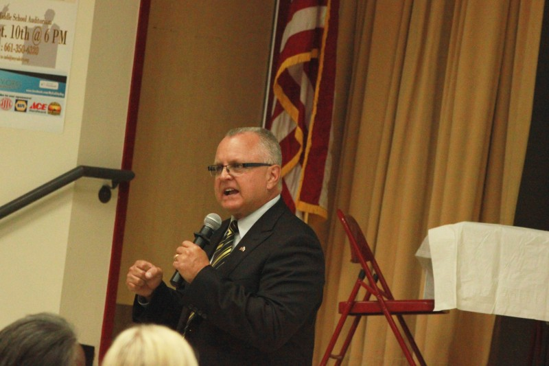 Republican State Assembly candidate Tom Lackey makes his pitch to voters at An election forum in California City, about 2 hours north of L.A.