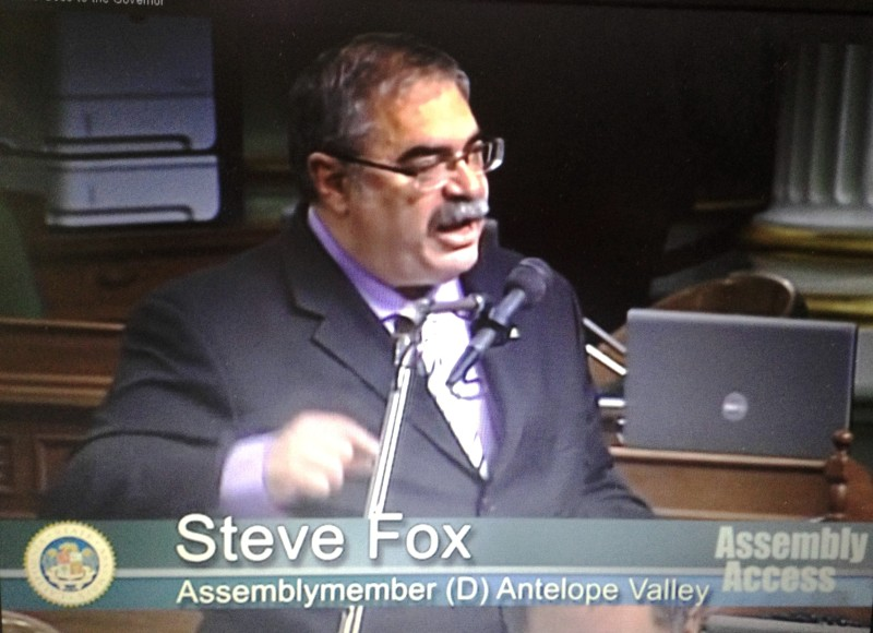 Assembly Steve Fox on the floor of the state legislature speaking on behalf his bill AB1607 that revises the Sexually Violent Predator (SVP) Act