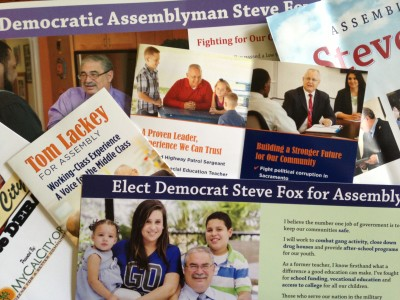 A collection of campaign mailers from the 36th State Assembly race between Democratic incumbent Steve Fox and Republican challenger Tom Lackey.