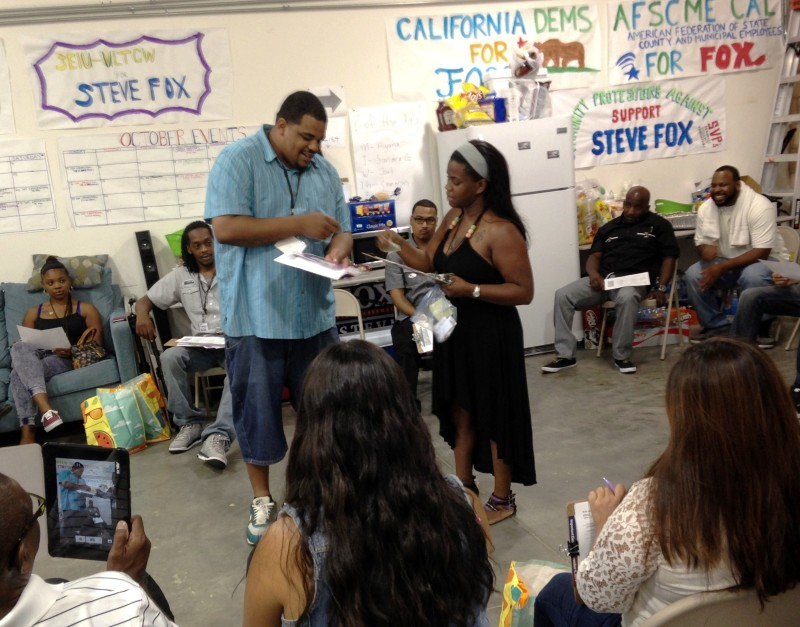 Campaign volunteers for Assemblyman Steve Fox prepare to hit the streets of Lancaster for another day of canvassing.