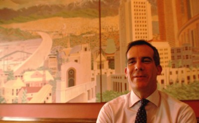 Los Angeles Mayor Eric Garcetti in his office at city hall. (Steven Cuevas/KQED)