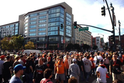 Fans make their way over to AT&T park for game three of the World Series. (James Tensuan/KQED)