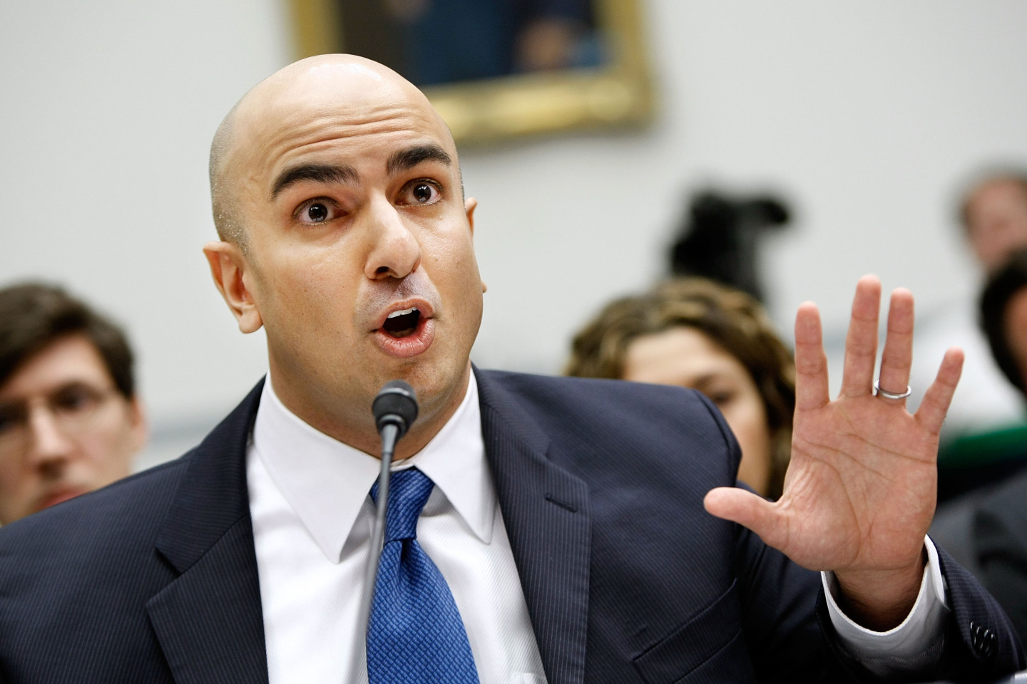 Neel Kashkari testifies before the House Domestic Policy Subcommittee during a 2009 hearing on Capitol Hill. Kashkari, the Treasury's acting interim assistant secretary for financial stabilization at the time, answered questions about the TARP, or Troubled Asset Relief Program, and heard complaints from both Republicans and Democrats that few people know where exactly the money is being spent. (Chip Somodevilla/Getty Images)