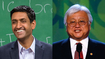 Ro Khanna (L) is challenged Mike Honda (R) for his seat in Congress. (Courtesy Ro Khanna, Mark Wilson/Getty Images)