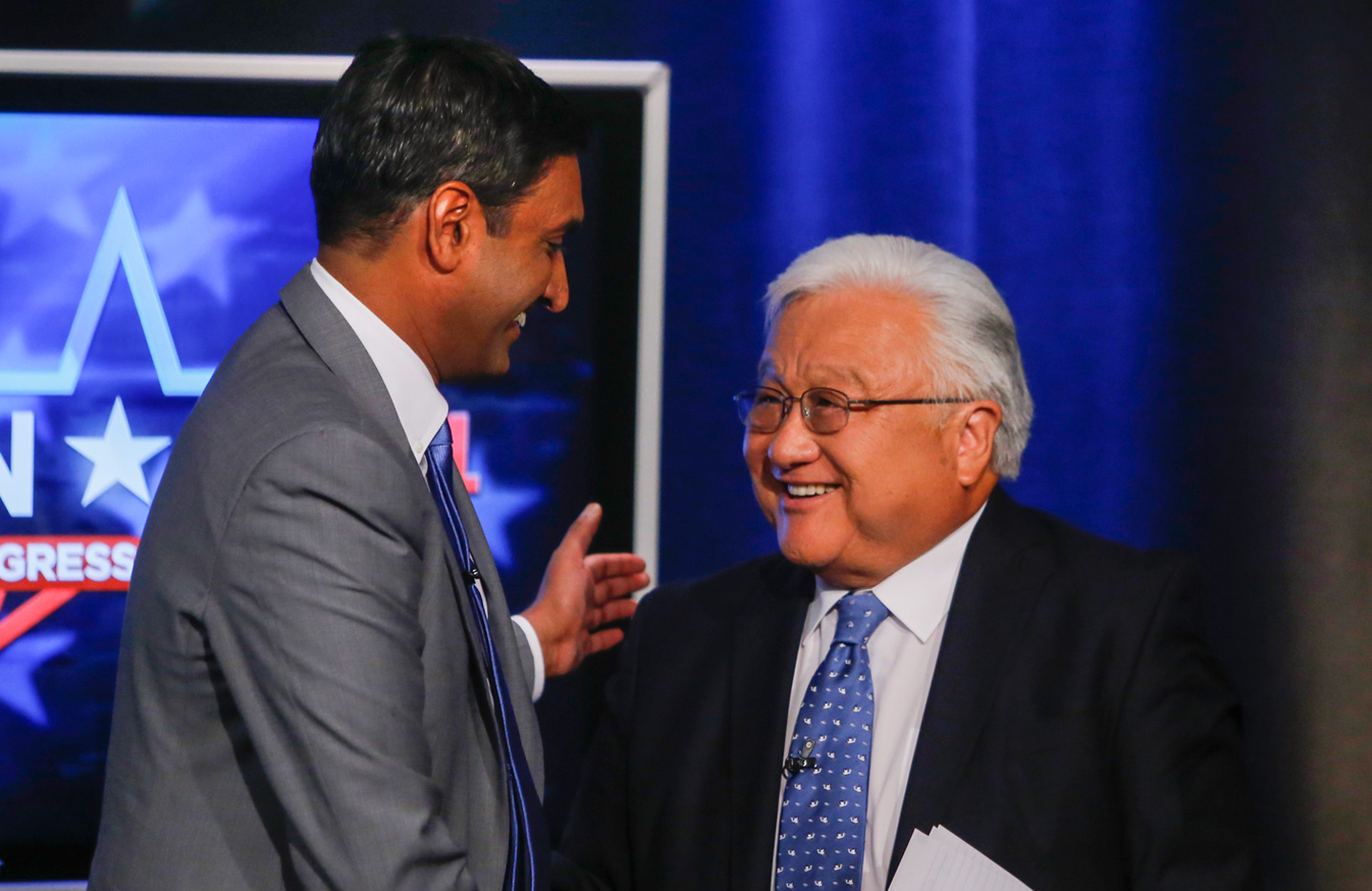 Democratic challenger Ro Khanna, left, and Rep. Mike Honda, D-San Jose