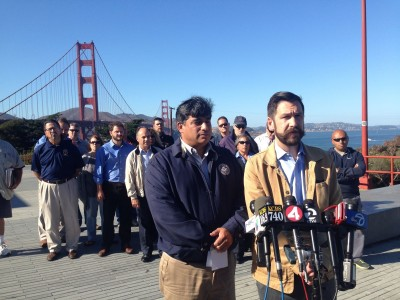 Golden Gate Bridge union leaders at a September 2014 press conference to announce a work stoppage. Now Bus drivers have announced a one-day strike for Friday, Oct. 17. (Isabel Angell/KQED)