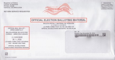 An Alameda County mail-in ballot, with incorrect date of 2014 general election showing in address window at lower right.