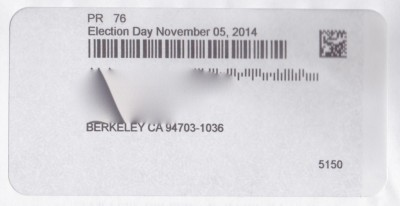 The address window in Alameda County mail-in ballots displaying incorrect date for this year's election.