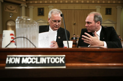 Rep. Tom McClintock, left, during a House hearing last year on the federal government's debt limit. (Alex Wong/Getty Images)