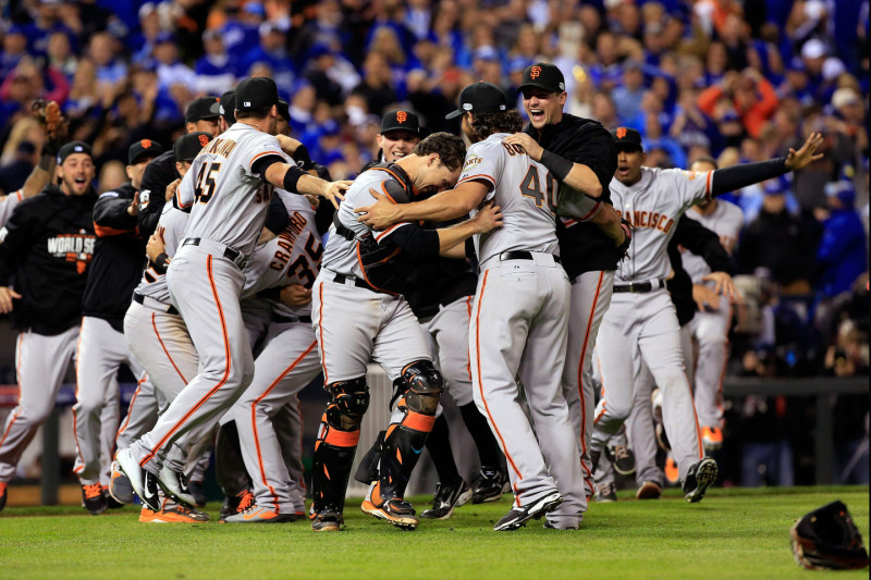 The San Francisco Giants celebrate after defeating the Kansas City Royals to win Game Seven of the 2014 World Series. (Dilip Vishwanat/Getty Images)