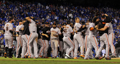 The San Francisco Giants celebrate after defeating the Kansas City Royals to win Game Seven of the 2014 World Series by a score of 3-2 at Kauffman Stadium on October 29, 2014 in Kansas City, Missouri. (Jamie Squire/Getty Images)