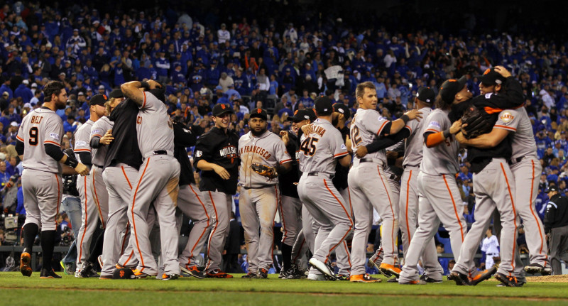 The San Francisco Giants celebrate after defeating the Kansas City Royals to win Game Seven of the 2014 World Series by a score of 3-2 at Kauffman Stadium on October 29, 2014 in Kansas City, Missouri. Jamie Squire/Getty Images)