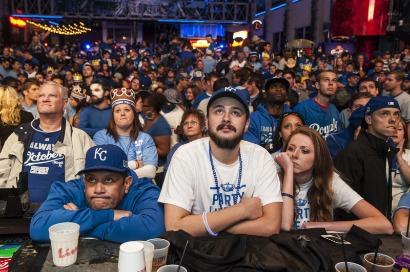 Kansas City Royals fans react to their team's defeat in the Power and Light District. (Julie Denesha/Getty Images)