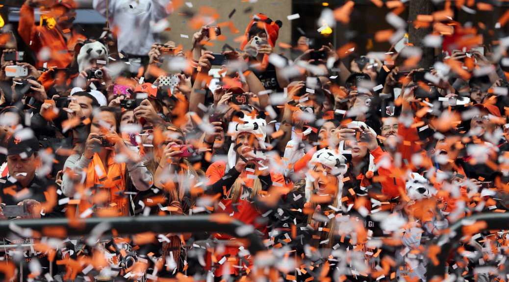 Part of the crowd in downtown San Francisco for the Giants World Series victory celebration in 2012. (Ezra Shaw/Getty Images)