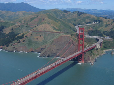 The Golden Gate Bridge Highway and Transportation District is considering charging cyclists and pedestrians as part of a 45-point plan to reduce its deficit. (Craig Miller/KQED)