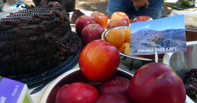 The table at the Sonora Pass Cafe on the Pacific Crest Trail. (Lisa Morehouse/KQED)