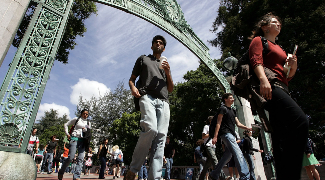 Students walk through Sather Gate on the UC Berkeley campus. (Justin Sullivan/Getty Images)