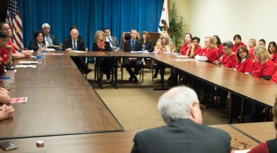 Gov. Jerry Brown and other state officials meet with California nurses to discuss Ebola preparedness. (Brad Alexander/Office of the Governor)