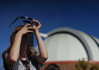 Sky gazers turned out for Thursday's partial solar eclipse.  (James Tensuan/KQED)