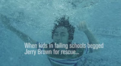 A frame from Neel Kashkari TV spot accusing Gov. Jerry Brown of betraying California schoolchildren.