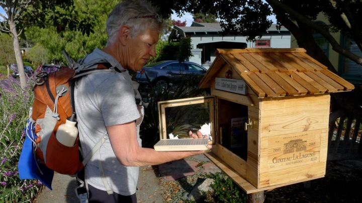 This library is made from an old wine box and is on Sonoma Avenue near Neilson. (Colleen Neff/Berkeleyside)
