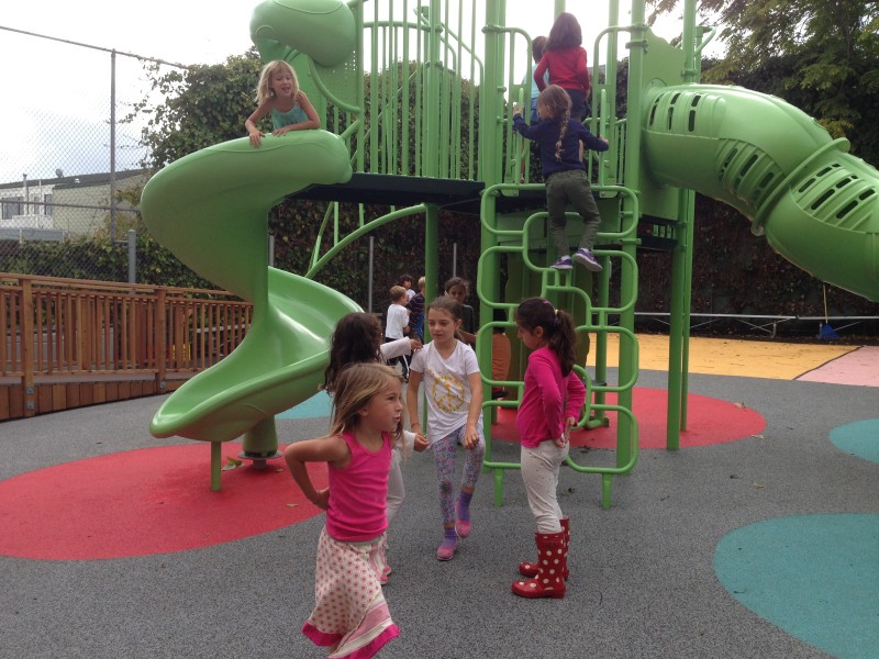 The playground at La Scuola's new Fell Street campus in San Francisco is a very popular place. (Patricia Yollin/KQED)