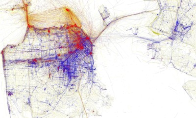 A 2010 visualization by artist/programmer/map geek Eric Fischer depicting geotagged social media pictures taken in and around San Francisco. Red dots represent pictures taken by tourists, blue shows pictures taken by locals, and yellow is unknown.  (See item at end of today's Reading List.)