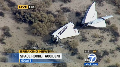 Part of the wreckage of Virgin Galactic's SpaceShipTwo in the Mojave Desert north of Los Angeles. (KABC screenshot)