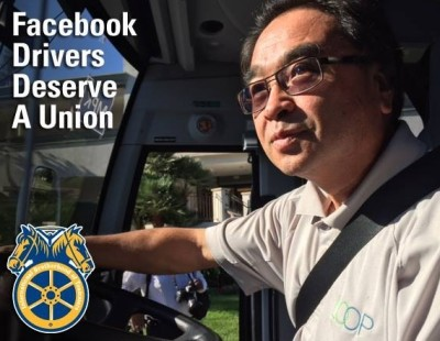 A Teamsters post on Facebook urging the company to support an organizing drive for  shuttle drivers.