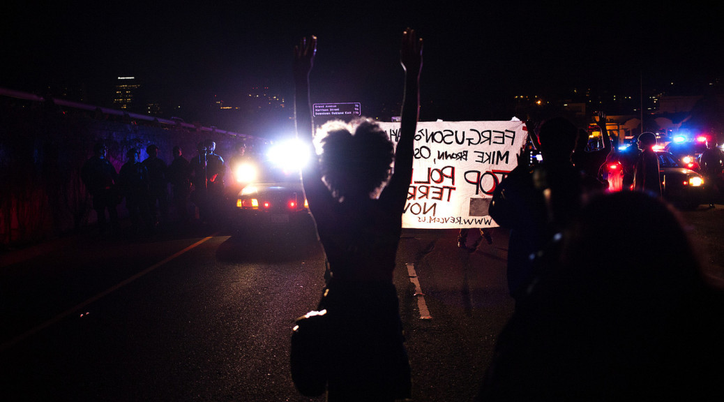 More than 1,000 demonstrators protested Monday night, blocking I-580 for several hours. (Mark Andrew Boyer/KQED)