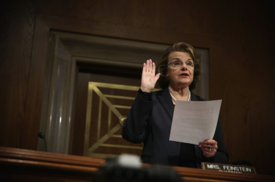 Sen. Dianne Feinstein (D-California) during session of the Senate Select Intelligence Committee on Thursday. (Alex Wong/Getty Images)