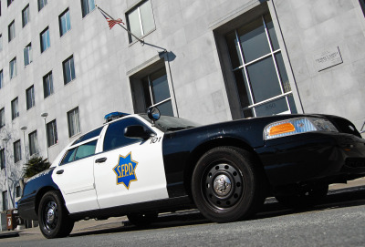 San Francisco Police Department patrol car outside the Hall of Justice.