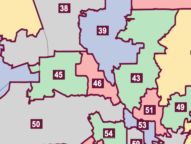 In state Assembly districts around Los Angeles, turnout on Nov. 4 hovered around 20 percent. (Diagram: Citizen's Redistricting Commission)