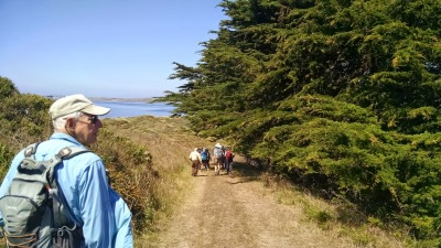 Stan Bluhm volunteers for Coastwalk California, a nonprofit that promotes the California Coastal Trail. He lead hikers in Marin County on a backpacking trip earlier this fall. (Vinnee Tong/KQED)