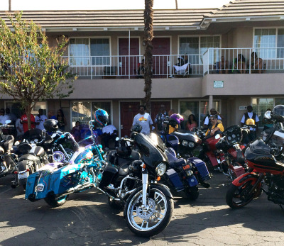 Motorcycles glisten in the sun at the halfway run in Fresno. (Aaron Mendelson/KQED)