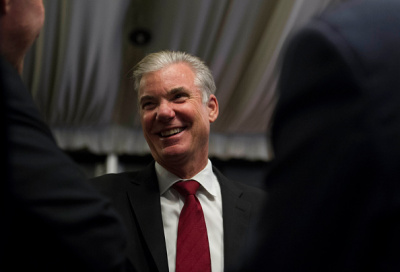 Superintendent of Public Instruction Tom Torlakson greets his supporters during an election night watch party at the Citizen Hotel in Sacramento, Calif., on Tuesday, Nov. 4, 2014. Torlakson won against former charter school executive Marshall Tuck. (Andrew Seng/Sacramento Bee/MCT via Getty Images)