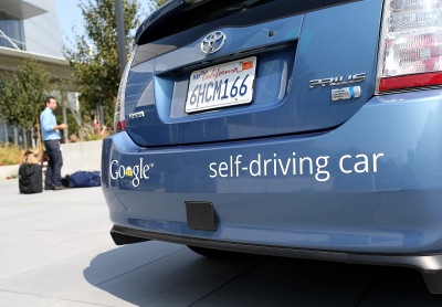 A Google self-driving car is displayed at the Google headquarters on September 25, 2012 in Mountain View, California
